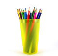 Color pens on the yellow writing book shallow dof Stock Photo