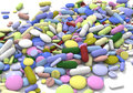 Color pills horizontal diverse and tablets on white background Royalty Free Stock Images