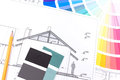 Color planning architectural drawings of the modern house and samples catalog Royalty Free Stock Images