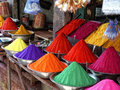 Color powder sold at indian road market Stock Photos