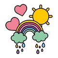 Color rainbow clouds raining with hearts and sun