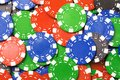 Color red blue green poker chips background Royalty Free Stock Photo