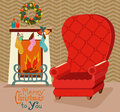Color retro room with fireplace and big soft chair for christma christmas background Stock Image