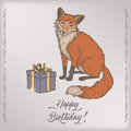 Color romantic vintage birthday card template with calligraphy, fox and gift box sketch. Royalty Free Stock Photo
