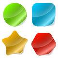 Color rounded blank stickers with curled edge illustration Royalty Free Stock Photography