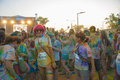 The color run mamaia romania august happy unidentified people at is a worldwide hosted fun which promote healthiness Royalty Free Stock Photography