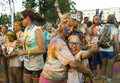 The color run mamaia romania august happy unidentified people at is a worldwide hosted fun which promote healthiness Royalty Free Stock Photos