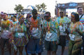 The color run mamaia romania august happy unidentified people at is a worldwide hosted fun which promote healthiness Royalty Free Stock Photo