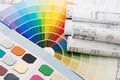 Color samples for selection with house plan Stock Image