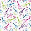 Color seamless pattern musical notes and guitars