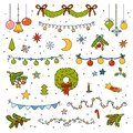 Color set of Christmas items. Cartoon collection of vector design elements Royalty Free Stock Photo