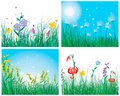 Color set of grass backgrounds Royalty Free Stock Photo