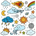 Color set of nature objects. Vector cartoon collection of weather icons