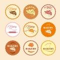 Color set of vintage retro bakery logos labels badges design elements Stock Photos