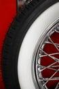 Color shot of a vintage car spoke wheel vertical s Royalty Free Stock Photo