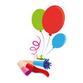 Color silhouette with balloons and party blower