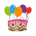 Color silhouette with birthday cake and balloons