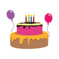 Color silhouette with birthday cake and candles and balloons