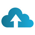 Color silhouette with cloud upload service