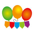Color silhouette with party balloons and banner