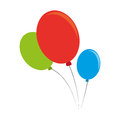 Color silhouette with party balloons