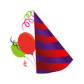 Color silhouette with party hat and balloons
