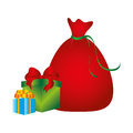 Color silhouette with santa claus bag and gift boxes