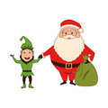 Color silhouette with santa claus with bag of gifts and elf