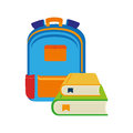 Color silhouette with school briefcase and books