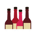 Color silhouette with set of liquor bottles Royalty Free Stock Photo