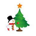 Color silhouette with snowman and christmas tree