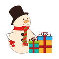 Color silhouette with snowman and gift boxes