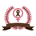 color silhouette symbols female and breast cancer with olive crown and ribbon Royalty Free Stock Photo