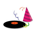 Color silhouette with vinyl lp and party hat