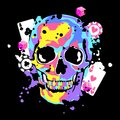 Color skull with game cards and dice. Royalty Free Stock Photo