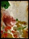Color splats over vintage background