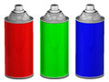 Color spray cans isolated rgb d rendered image Stock Photo