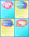 Color spring sale posters set discount butterflies Royalty Free Stock Photo