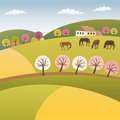 Color spring vector illustration highland Stock Photo