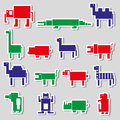 Color square digital simple retro animals stickers Royalty Free Stock Photo