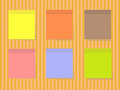 Color square stickers colored on striped background Stock Photos