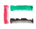 Color strokes of uae flag united arab emirates colors bold brush illustration Royalty Free Stock Photo