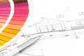 Color swatches and architectural drawings of the modern house samples catalog Royalty Free Stock Photo