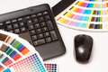 Color swatches and computer keyboard, mouse Stock Photography