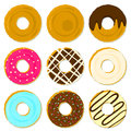 Color tasty fried donuts with different topping and strewing