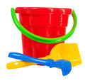 Color toys bucket shovel rake Stock Photography