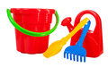 Color toys bucket shovel rake watering can Stock Photography