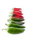 Color transition with a hot peppers isolated on white Stock Image