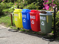 Color trash cans for garbage separation Royalty Free Stock Photo