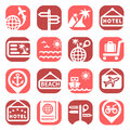 Color travel icons set created for mobile web and applications Stock Images